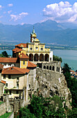 Madonna del Sasso church and Maggiore Lake in background. Locarno. Tessin. Switzerland