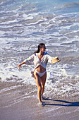 Woman on caribbean beach. St Barthelemy