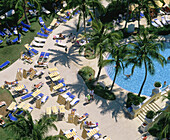 Vacationers at Sheraton Bal Harbour Resort pool. Miami Beach. Florida. USA