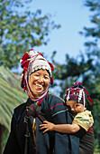 Woman and son. Akha Hilltribe. Golden triangle. Chiang Rai. Thailand