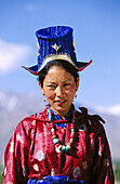 Woman with typical headdress in Leh. Ladakh. Jammu and Kashmir, India