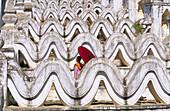 Nun in Hsinbyume Pagoda. Mandalay Division. Myanmar (Burma).