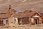 The Methodist church and wooden buildings on Green Street, Bodie State Historic Park (National Historic Landmark), California