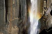 Detail of rainbow at the base of Vernal Falls. Yosemite National Park. California. USA