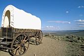 Conestoga wagon at the National Historic Oregon Trail Interpretive Center on Flagstaff Hill. Baker City. Oregon. USA