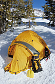 Yellow dome tent and gear in a backcountry ski camp, Inyo National Forest, Sierra Nevada Mountains, California
