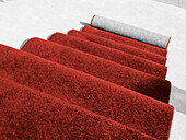 Carpet, Carpets, Close up, Close-up, Closeup, Coiled, Color, Colour, Concept, Concepts, Covered, Detail, Details, Elegance, Elegant, Excellence, Floor, Floors, Horizontal, Indoor, Indoors, Inside, Interior, Luxurious, Luxury, Red, Stairs, Step, Steps, Su