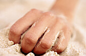 Beach, Beaches, Body, Body part, Body parts, Close up, Close-up, Closed, Closeup, Color, Colour, Concept, Concepts, Contemporary, Crawl, Crawling, Detail, Details, Exterior, Finger, Fingers, Hand, Hands, Holiday, Holidays, Horizontal, Human, One, One per