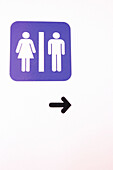 Arrow, Arrows, Bathroom, Bathrooms, Close up, Close-up, Closeup, Color, Colour, Concept, Concepts, Direction, Female, Indoor, Indoors, Information, Inside, Interior, Male, Man, Men, Restroom, Restrooms, Sign, Signs, Symbol, Symbols, Toilet, Toilets, Vert