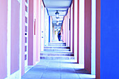 Blue, Bright, Brightness, Color, Colored, Colorful, Colors, Colour, Coloured, Colourful, Colours, Contemporary, Corridor, Corridors, Direction, Door, Doors, Horizontal, Human, Light, Luminosity, Luminous, People, Person, Persons, Perspective, Step, Steps
