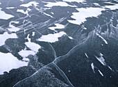 Snow pattern on cracked ice. Skåne. Sweden