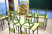 Arrangement, Blackboard, Blackboards, Board, Boards, Chair, Chairs, Chalkboard, Chalkboards, Childhood, Classroom, Classrooms, Color, Colour, Contemporary, Education, Elementary school, Empty, Furniture, Grade School, Green, Horizontal, Indoor, Indoors,