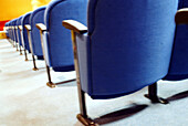 Arrangement, Auditorium, Auditoriums, Blue, Chair, Chairs, Color, Colour, Concept, Concepts, Detail, Details, Horizontal, Indoor, Indoors, Inside, Interior, Line, Lines, Nobody, Order, Perspective, Row, Rows, Seat, Seats, G96-327770, agefotostock