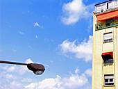 Apartment, Apartments, Block, Blocks, Building, Buildings, Cloud, Clouds, Color, Colour, Concept, Concepts, Daytime, Detail, Details, Exterior, Facade, Façade, Facades, Façades, Flat, Flats, Horizontal, Outdoor, Outdoors, Outside, Skies, Sky, Street lamp