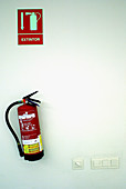 Color, Colour, Concept, Concepts, Emergencies, Emergency, Fire, Fire extinguisher, Fire extinguishers, Fire prevention, Fire-prevention, Fires, Hang, Hanging, Indoor, Indoors, Industrial, Industry, Inside, Interior, Object, Objects, One, One item, Red, S