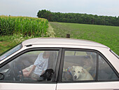 A mother, daughter and family dog stop for a break near a corn field during a family vacation.
