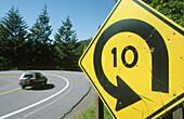 Sharp turn ahead and auto.