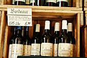 French Bordeaux wines at Viktualienmarkt. Munich, Germany