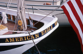 Stern of schooner American Eagle , national historic landmark. Rockland. Maine. USA