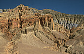 Highly eroded landscape near Dhakmar. Kingdom of Mustang. Nepal