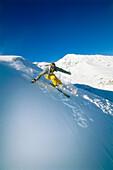 Skier skiing down a slope, Skiing, Winter Sports, Sport, Serfaus, Tyrol, Austria