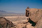 Hikers enjoying the view, Gebel Banat, Sinai, Egypt, Africa