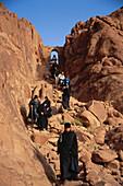 Russian Othodox monks on a pilgrimage to the Moses' Mountain, Mount Sinai, Sinai, Egypt, Africa