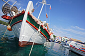 Boats are moored in Fiskardo harbour, Cephalonia Island, Ionian Islands, Greece