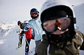 Children skiing in a row, skiing region Sonnenkopf, Vorarlberg, Austria