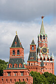 Fortification wall of the Kremlin; towers from front left to back right: Konstantino Eleninskaya Tower, Nabatnaya-Tower, Tsarskaya Tower, Saviour Tower (Spasskaya), Moscow, Russia