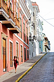 A woman at an alley in the Old Town, San Juan, Puerto Rico, Carribean, America