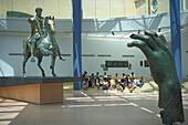 Interior view of the Capitoline Museum, view at Imperial Roman equestrian statue of Marcus Aurelius, Rome, Italy, Europe