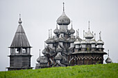 Kizhi island on Lake Onega with wooden church, the second biggest lake in Europe, Russia