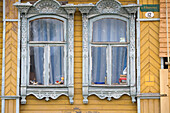 Wooden facade of a residential building in Uglich, Yaroslavl Oblast, Russia