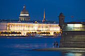 The Neva river with the Winter palace, Saint Isaac's cathedral and the tower from Pater and Paul Cathedral, Saint Petersburg, Russia