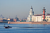 River Neva and Vassiljevski island. The tower in the middle marks the art chamber, the red column is one of the two Rostra columns, Saint Petersburg, Russia.
