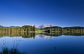 Reflection of Wilder Kaiser range in lake Schwarzsee, Kitzbuhel, Tyrol, Austria