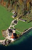 Aerial shot of St. Bartholomew's Church at King's Lake, Berchtesgadener Land, Bavaria, Germany