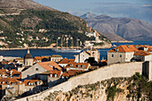 Old town city wall and Cruiseship Royal Clipper (Star Clipper Cruises), Dubrovnik, Dubrovnik-Neretva, Croatia