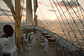 Royal Clipper sails into the sunset, Aboard Sailing Cruiseship Royal Clipper (Star Clippers Cruises), Mediterranean Sea, near Sicily, Italy