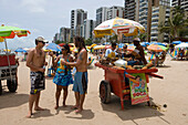Pineapple Vendor with cart on the beach, Recife, Pernambuco, Brazil, South America
