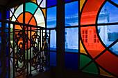 Stained glass windows in Theatro Jose de Alencar Theatre, Fortaleza, Ceara, Brazil, South America