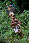 Young Amazonian girl in traditional costume dress, Boca da Valeria, Amazonas, Brazil, South America