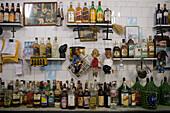 Bottles of spirits and liquor in Bar do Mineiro in Santa Teresa, Rio de Janeiro, Brazil