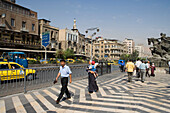 Local people crossing the road, Street Scene, Damascus, Syria, Asia