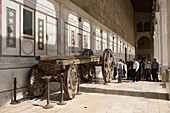 Traditional wagon, cart display in the Umayyad Mosque Courtyard, Damascus, Syria, Asia
