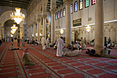Muslim men at prayer, Salah Muslim Prayer in Umayyad Mosque, Damascus, Syria, Asia