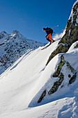 Skier freeriding, Gemsstock skiing region, Andermatt, Canton Uri, Switzerland