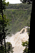 View at the Barron Falls beneath a railway line, Skyrail Rainforest Cableway, Kuranda, Atherton Tablelands, Cairns, Queensland, Australia
