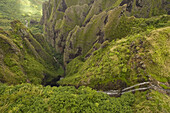 Aerial view of green landscape with waterfalls, Nuku Hiva, MarquesasIslands, Polynesia, Oceania